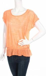 Pomarańczowa bluzka Butterfly z krótkim rękawem w stylu casual