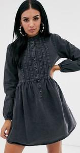 Sukienka Asos z długim rękawem z jeansu