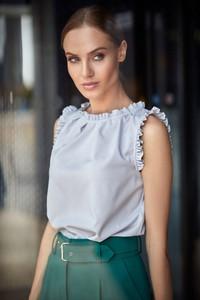 Bluzka Style z okrągłym dekoltem z tkaniny w stylu casual