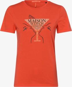 Czerwony t-shirt Scotch & Soda z krótkim rękawem