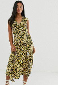 Żółta sukienka River Island Petite z dekoltem w kształcie litery v