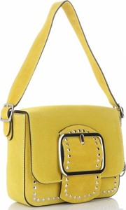 Żółta torebka VITTORIA GOTTI ze skóry na ramię z aplikacjami
