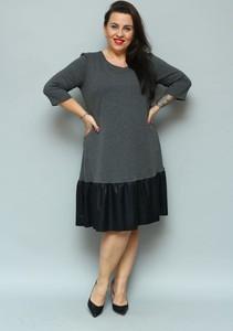 Czarna sukienka KARKO midi ze skóry ekologicznej