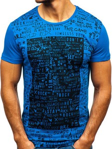 Niebieski t-shirt Denley z bawełny