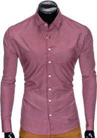 Fioletowa koszula Ombre Clothing z bawełny z długim rękawem