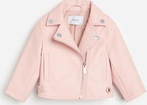 Różowa kurtka dziecięca Reserved ze skóry