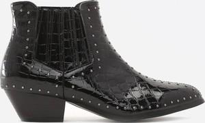 Czarne botki Multu na obcasie w stylu glamour