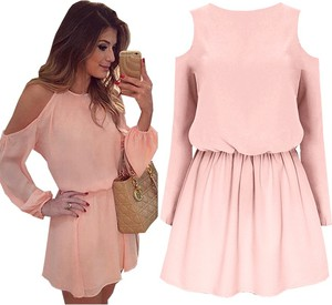 Różowa sukienka magmac z długim rękawem