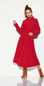 Czerwona sukienka Lemoniade z długim rękawem z kołnierzykiem