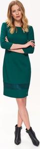 Zielona sukienka Top Secret z dekoltem w karo z długim rękawem midi