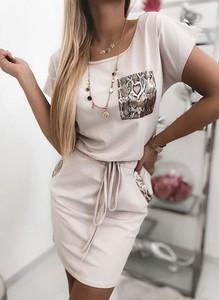 Sukienka Sandbella ze skóry z krótkim rękawem mini