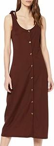 Brązowa sukienka amazon.de z okrągłym dekoltem midi prosta