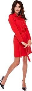 Sukienka Ptakmoda.com szmizjerka mini z długim rękawem
