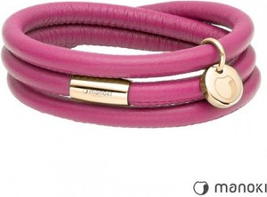 Manoki BA541GP różowa bransoletka damska skórzana