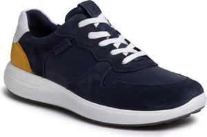 Granatowe buty sportowe Ecco ze skóry