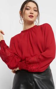 Czerwona bluzka ORSAY z tkaniny z długim rękawem