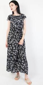 Sukienka Olika bez rękawów maxi z dekoltem w łódkę