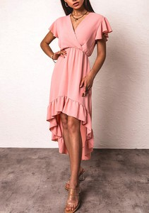 Różowa sukienka Latika maxi z krótkim rękawem