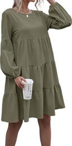 Zielona sukienka Cikelly w stylu casual z długim rękawem