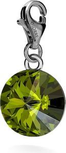 GIORRE SREBRNY CHARMS KRYSZTAŁ SWAROVSKI RIVOLI 12MM 925 : Kolor kryształu SWAROVSKI - Olivine, Kolor pokrycia srebra - Pokrycie Czarnym Rodem