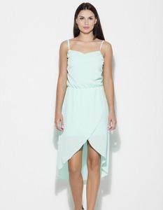 Niebieska sukienka Figl asymetryczna