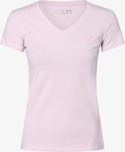 Różowy t-shirt Guess Jeans z krótkim rękawem