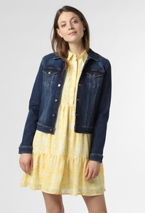 Granatowa kurtka Soyaconcept w stylu casual krótka z jeansu