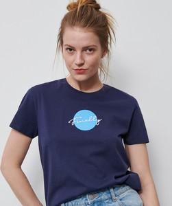 Granatowy t-shirt Reserved z okrągłym dekoltem z krótkim rękawem
