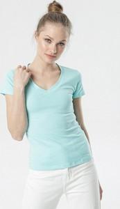 Niebieska bluzka born2be z krótkim rękawem z dekoltem w kształcie litery v