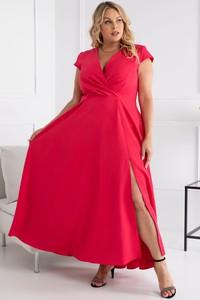 Sukienka KARKO z krótkim rękawem z tkaniny maxi