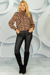 Brązowa bluzka Made in Italy z długim rękawem z golfem
