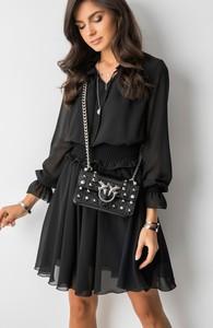 Czarna sukienka Fashion Manufacturer rozkloszowana z długim rękawem