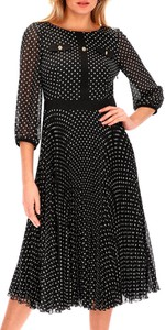 Sukienka L'AF z długim rękawem midi z okrągłym dekoltem