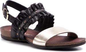 Czarne sandały Carinii z płaską podeszwą