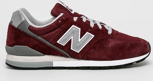 Bordowe buty sportowe New Balance sznurowane z zamszu