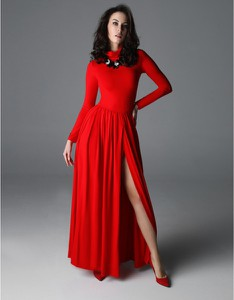 Czerwona sukienka Madnezz z golfem