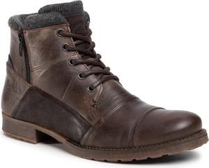Brązowe buty zimowe Bullboxer sznurowane