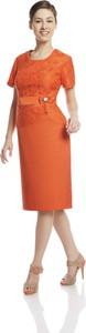 Pomarańczowa sukienka Fokus midi z okrągłym dekoltem