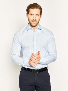 Niebieska koszula Strellson z włoskim kołnierzykiem