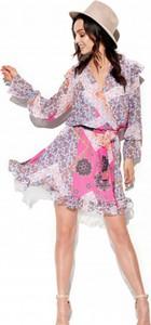 Różowa sukienka Lemoniade z długim rękawem mini z szyfonu