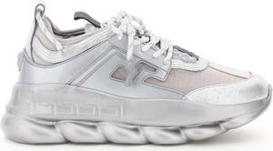 Srebrne buty sportowe Versace sznurowane ze skóry