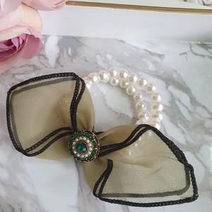 Vezzi Gumka imitacja pereł,kolor zielony O2V90018-1