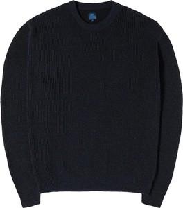 Niebieski sweter Edwin w stylu casual z wełny z okrągłym dekoltem