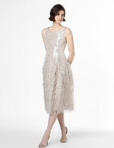 Sukienka Swing bez rękawów rozkloszowana z żakardu