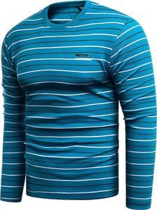 Niebieski t-shirt Risardi z długim rękawem w młodzieżowym stylu
