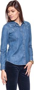 Niebieska koszula Wrangler z kołnierzykiem w stylu casual z długim rękawem