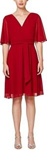 Czerwona sukienka amazon.de rozkloszowana z dekoltem w kształcie litery v mini