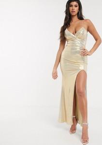 Złota sukienka Bariano bez rękawów