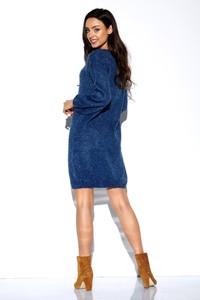 Niebieska sukienka Lemoniade z długim rękawem mini z okrągłym dekoltem