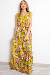Żółta sukienka Olika w stylu boho bez rękawów kopertowa